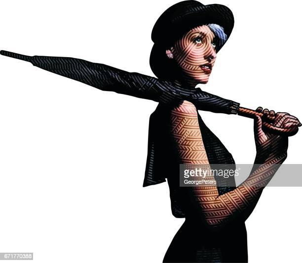 Ung kvinna med hatt och paraply letar efter regn