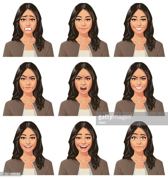 young woman with long hair- emotions - adult stock illustrations