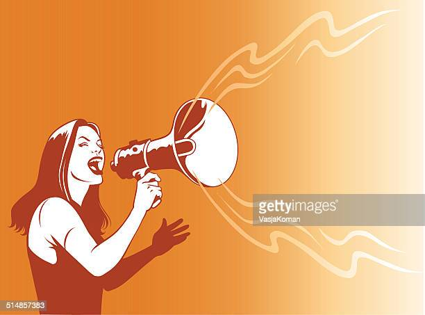 young woman with loud speaker - protest stock illustrations, clip art, cartoons, & icons