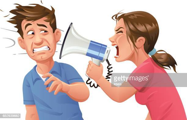 Young woman With Megaphone Screaming At Man