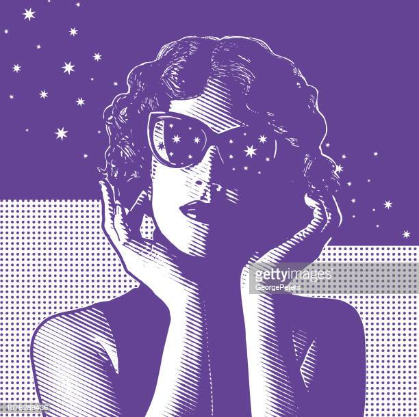 young woman with night sky and stars - actor stock illustrations, clip art, cartoons, & icons