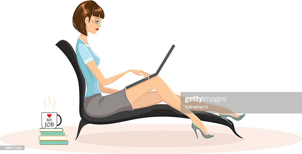 Young woman working on laptop. Freelance