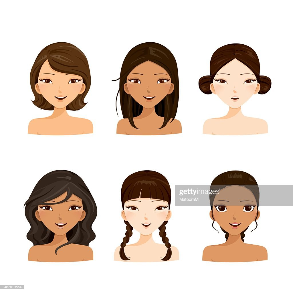 Young women faces with various hairstyles and skin set