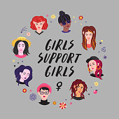 Young women heads & lettering illustration. Girls support girls.