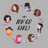 Young women heads & lettering illustration. You go girl!