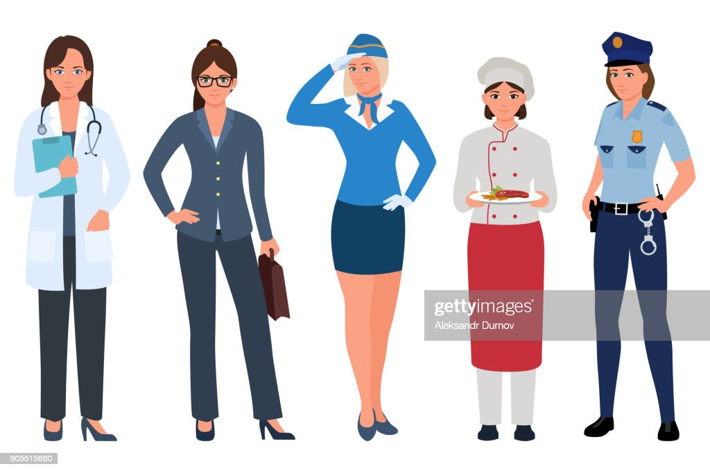 Young Women of different professions set . Doctor, stewardess, business lady, cook, policewoman isolated on white. Women careers. Vector illustration in flat cartoon style.
