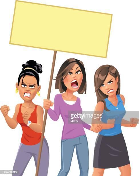 Junge Frauen protestieren