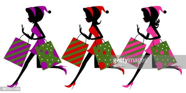 Young women running with shopping bag. Black Friday sales, panic purchasing, snap up, scare buying, the festival rush