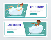 Young women taking bubble bath in bathtub banners set, daily hygiene procedure flat vector ilustrations, element for website or mobile app