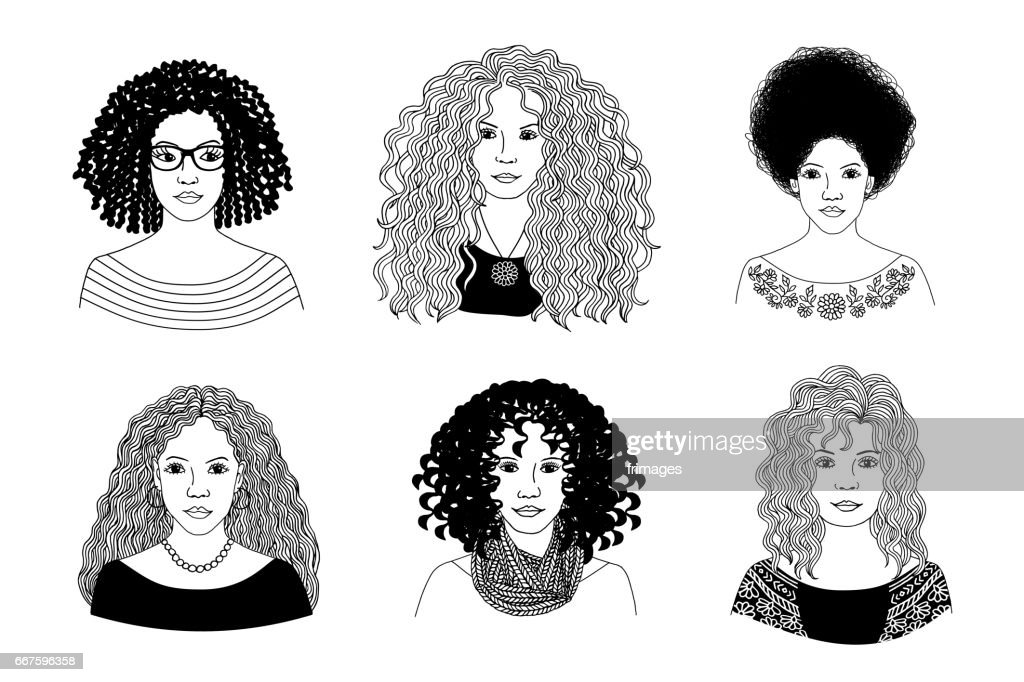 Young women with different types of curly hair