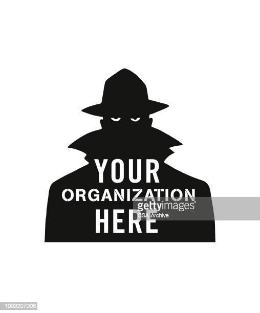 ilustraciones, imágenes clip art, dibujos animados e iconos de stock de su organización aquí - detective
