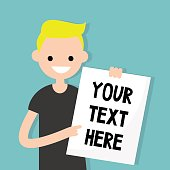 Your text here. Young blond boy holding a sheet of paper / editable flat vector illustration, clip art.