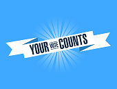your vote counts, blue ribbon Illustration Design graphic.
