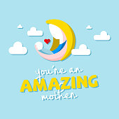 You're An Amazing Mother Moon Cloud Background Vector Image