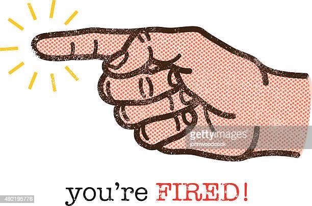 ilustrações, clipart, desenhos animados e ícones de você está demitido ilustração - apontando sinal manual