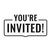 You're invited! Flat vector illustration on white background.