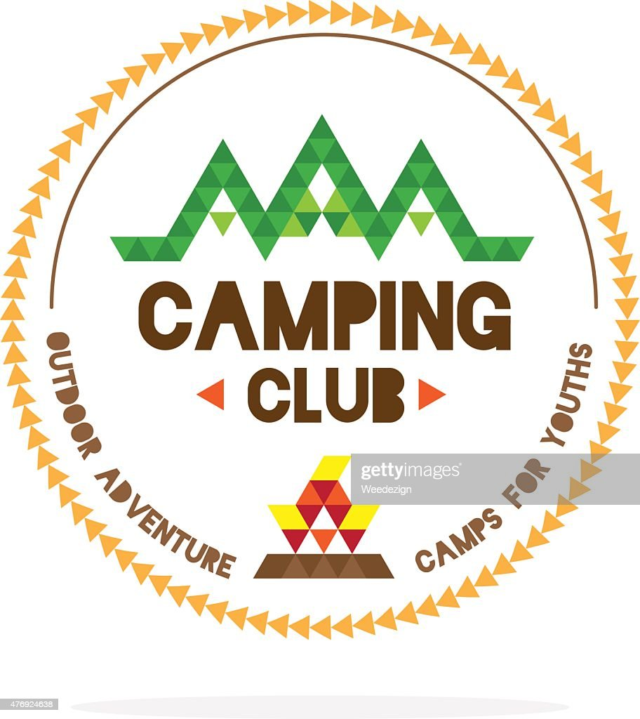 Youth camping club logo with mountain and camp fire
