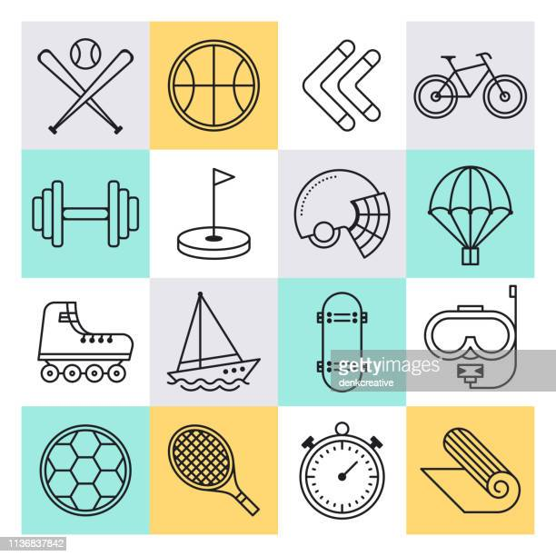 Youth Sports Training & Competition Outline Style Vector Icon Set