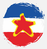 Yugoslavia Circle Flag Vector Hand Painted with Rounded Brush