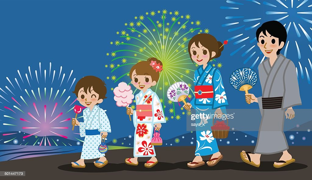 Yukata Family in Firework Display