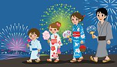 Yukata Family in Firework Display