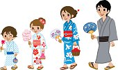 Yukata family Isolated