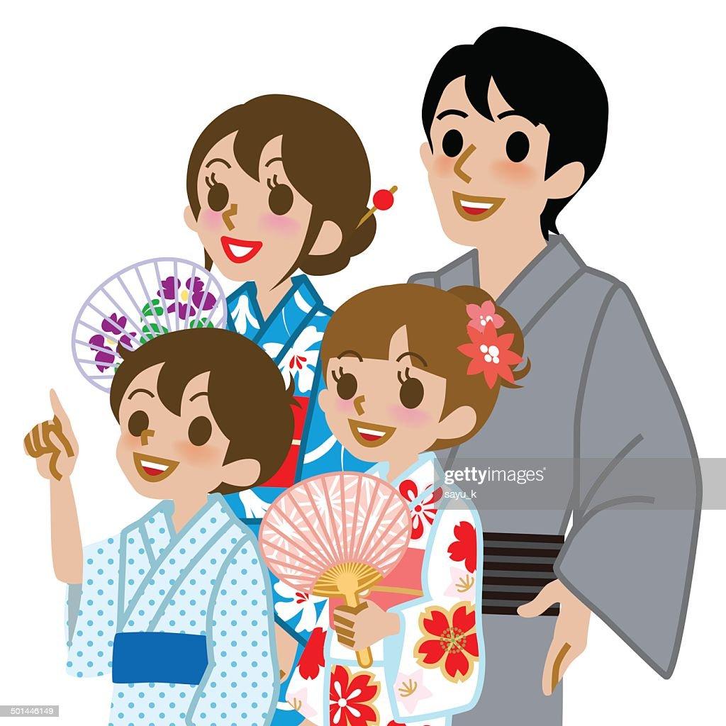 Yukata family Isolated,Waist Up