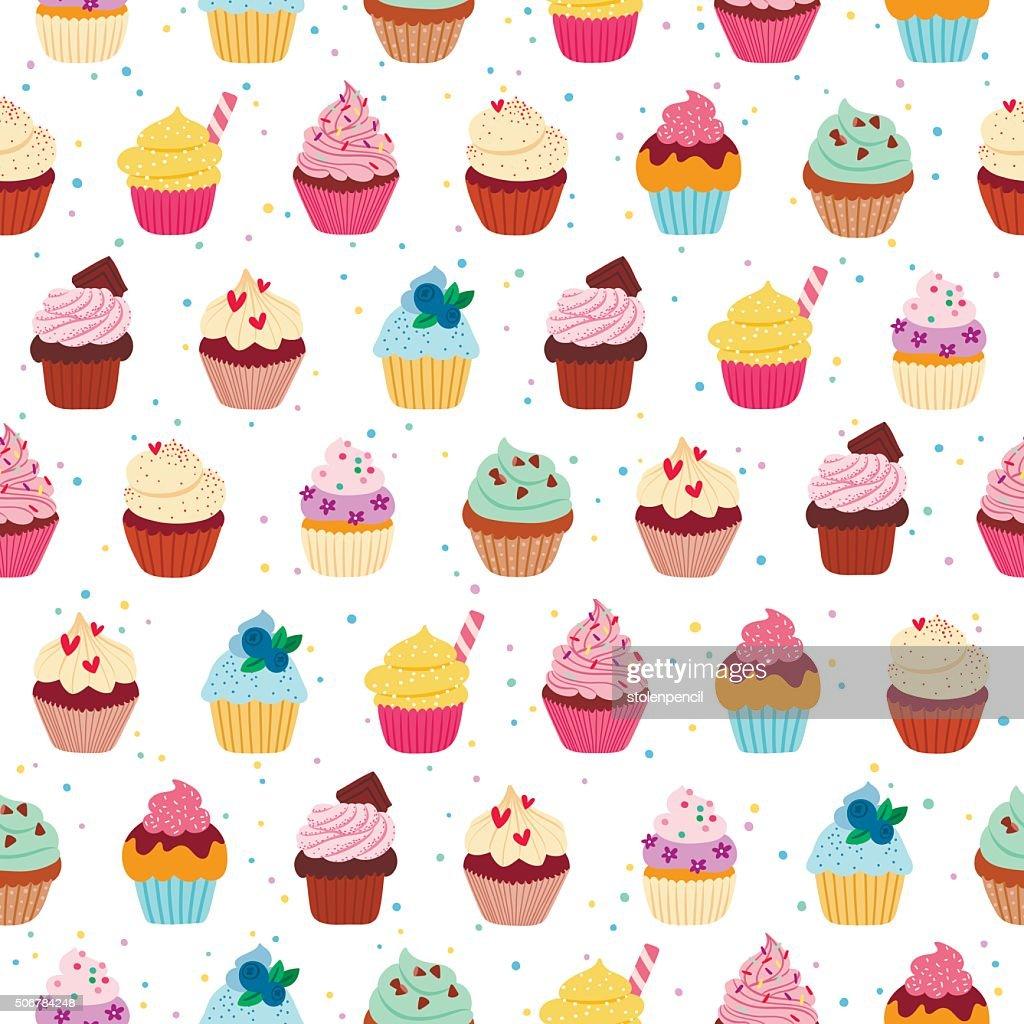 Yummy cupcakes seamless pattern