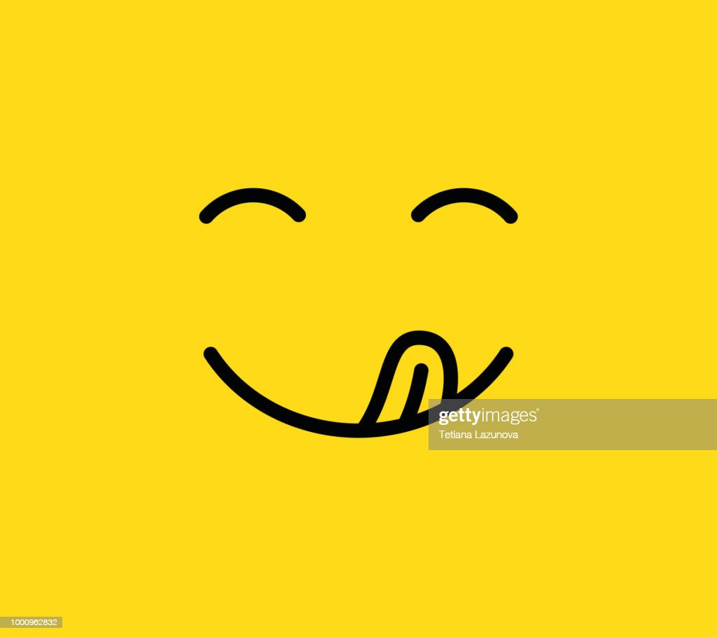 Yummy smile. Delicious, tasty eating emoji face with mouth and tongue. Funny hungry mood line vector icon