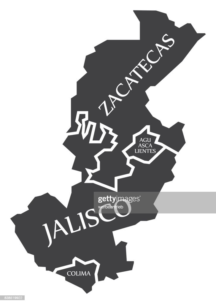 Zacatecas - Aguascalientes - Jalisco - Colima Map Mexico illustration