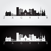 Zagreb skyline and landmarks silhouette