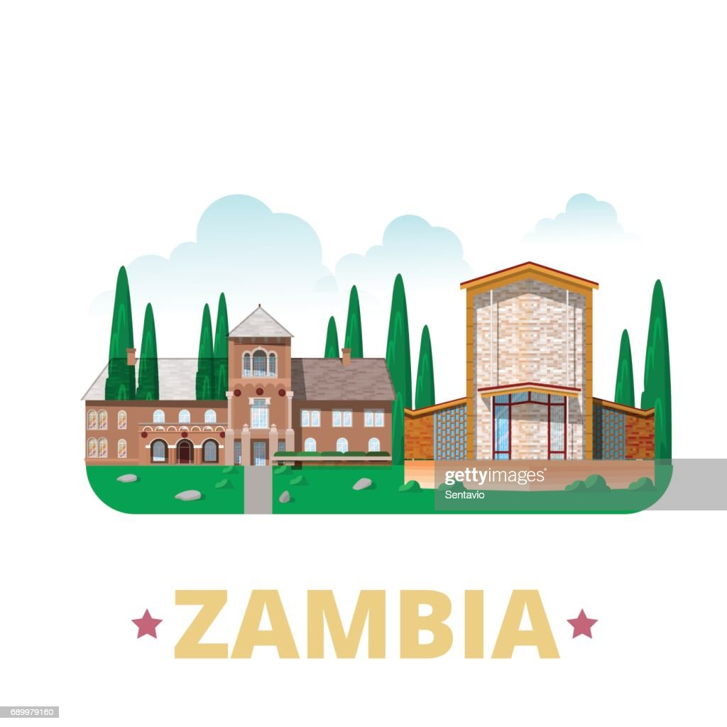 Zambia country design template. Flat cartoon style historic sight showplace web vector illustration. World vacation travel Africa African collection. Shiwa Ngandu Anglican Cathedral of the Holy Cross.