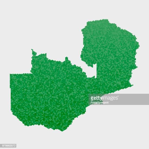 Sambia-Land-Map-grünen Sechseck-Muster