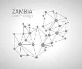 Zambia grey vector dot outline triangle map