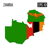 Zambia map border with flag vector EPS10