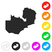 Zambia map - Flat icons on different color buttons