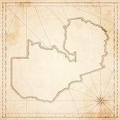Zambia map in retro vintage style - old textured paper