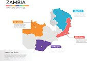 Zambia map infographics vector template with regions and pointer marks