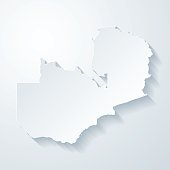 Zambia map with paper cut effect on blank background