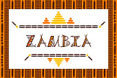 Zambia travel vector banner. Tribal tourist illustration. Typography background design for souvenir card, sticker, label, magnet, postcard, stamp, fashion t-shirt print or poster.
