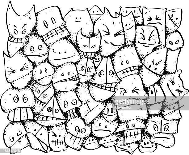 ilustraciones, imágenes clip art, dibujos animados e iconos de stock de zany carácter cara garabato fondo disorderly juventud - puppet