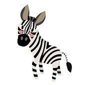 Zebra animal cartoon character vector illustration.