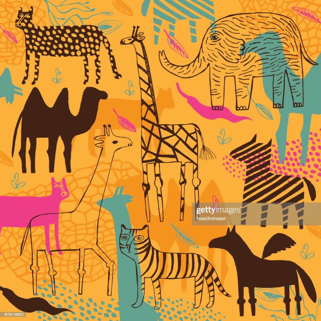 Zebra, camel, leopard, panther, elephant and giraffe pattern