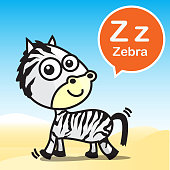 Zebra color artoon and alphabet for children to learning vecto