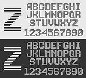 zebra font with horizontal stripes, line alphabet