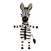 Zebra standing on two legs animal cartoon character vector illustration.