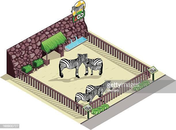 アイソメトリック zebras の動物園 - 飼い葉桶点のイラスト素材/クリップアート素材/マンガ素材/アイコン素材