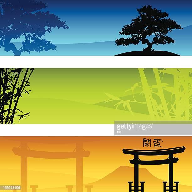 ilustrações, clipart, desenhos animados e ícones de banners de zen - mt. fuji
