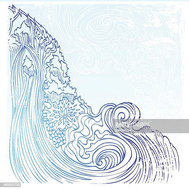 zen waterfall - waterfall stock illustrations, clip art, cartoons, & icons