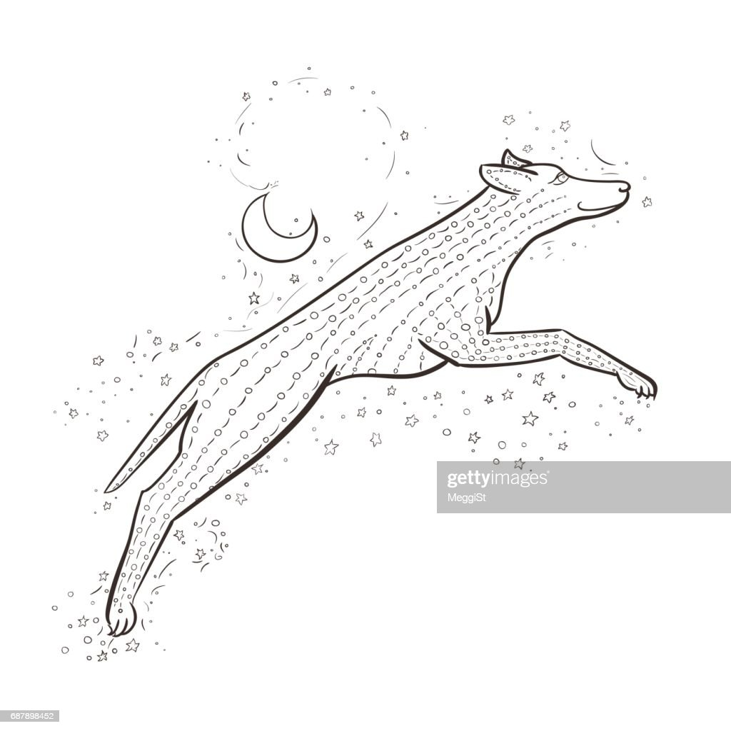 Zen wolf jumps on background night sky. 2018 New year vector illustration. Zen dog. Black and white coloring book.